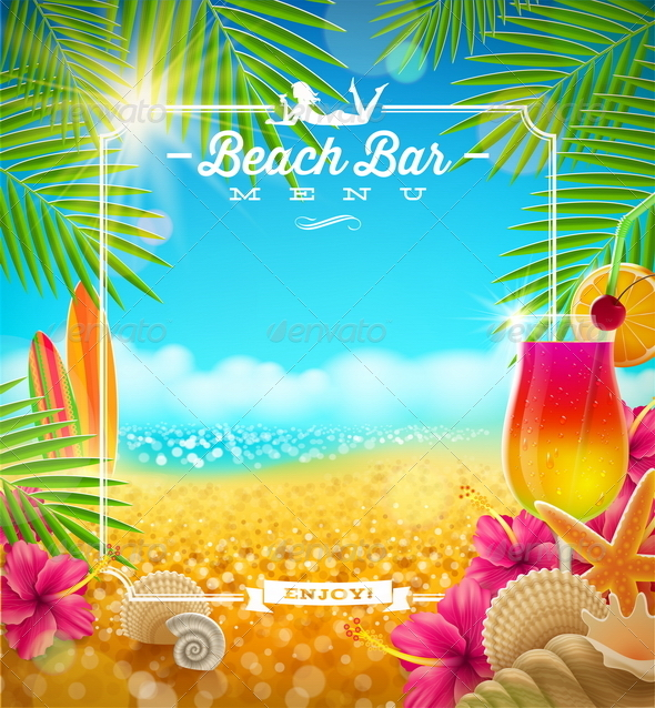 GraphicRiver Tropical Beach Bar Menu Design 7250076