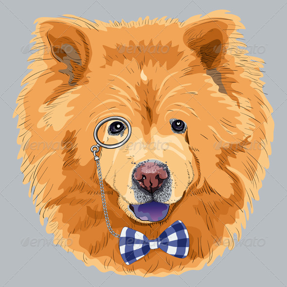 GraphicRiver Cartoon Hipster Chow-Chow Dog 7250502
