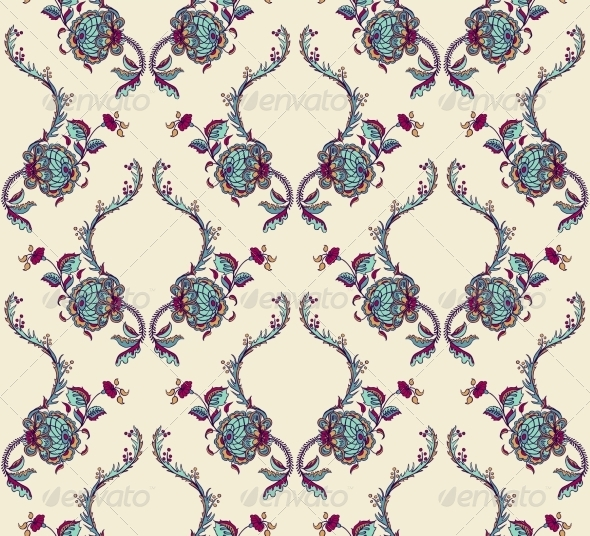 GraphicRiver Elegance Seamless Pattern with Flowers 7250539