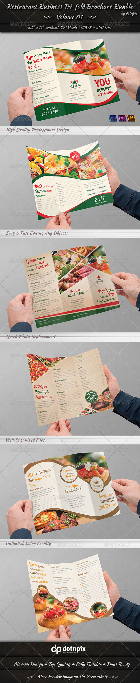 GraphicRiver Restaurant Tri-fold Brochure Bundle Volume 1 7250590