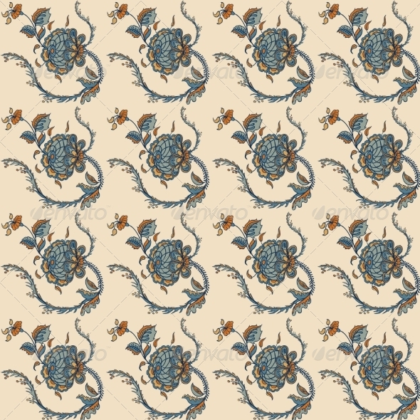 GraphicRiver Elegance Seamless Pattern with Flowers Ornament 7250672