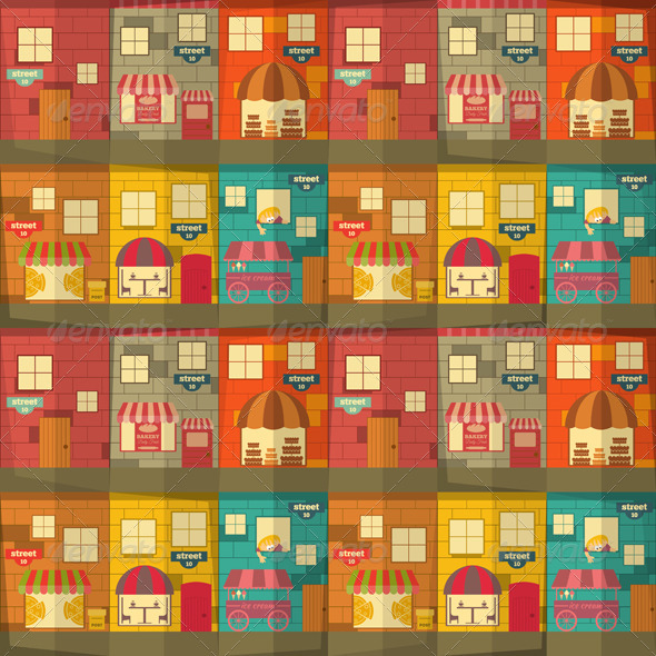 GraphicRiver Town Seamless Background 7251107