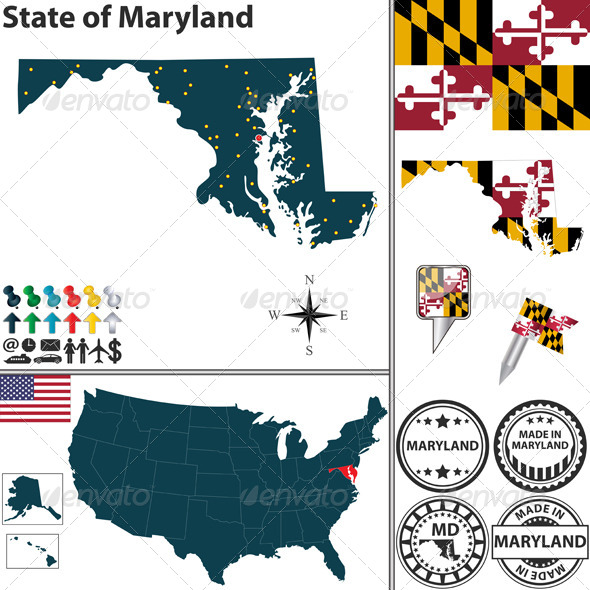GraphicRiver Map of state Maryland USA 7251350