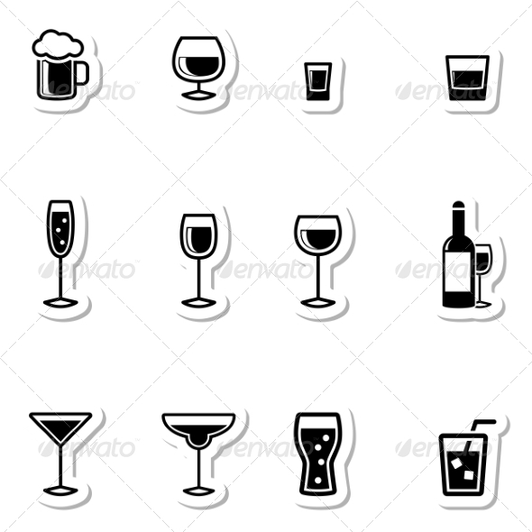 GraphicRiver Drink Icons as Labels 7251355