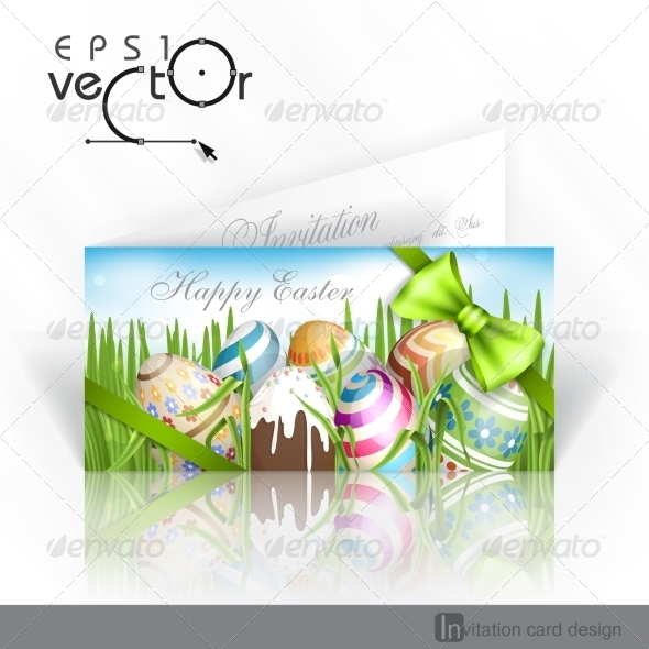 GraphicRiver Easter Background With Eggs In Grass 7251362
