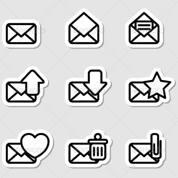 GraphicRiver Envelopes Icons as Labels 7251410