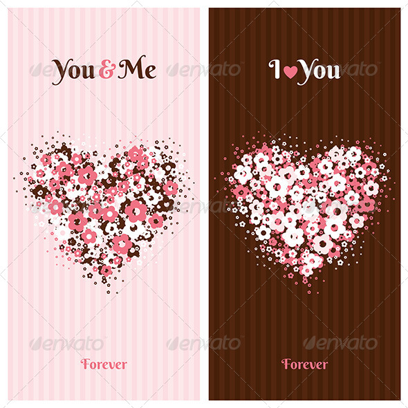 GraphicRiver Love Cards with Flower Heart 7251753