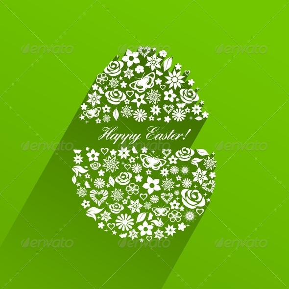 GraphicRiver Easter Egg Consisting of White Flowers 7251760