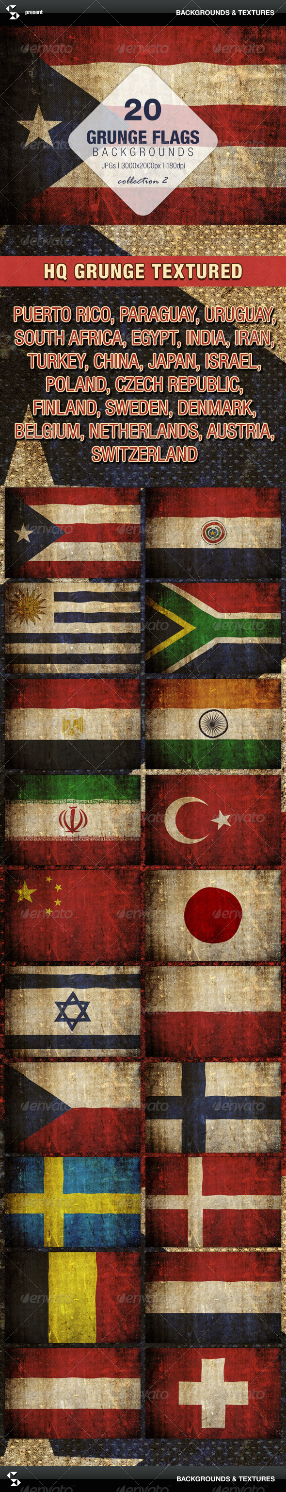 GraphicRiver Grunge Flags 20 Countries Collection 2 7252054