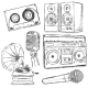 Vector Set of Sketch Music Object - GraphicRiver Item for Sale