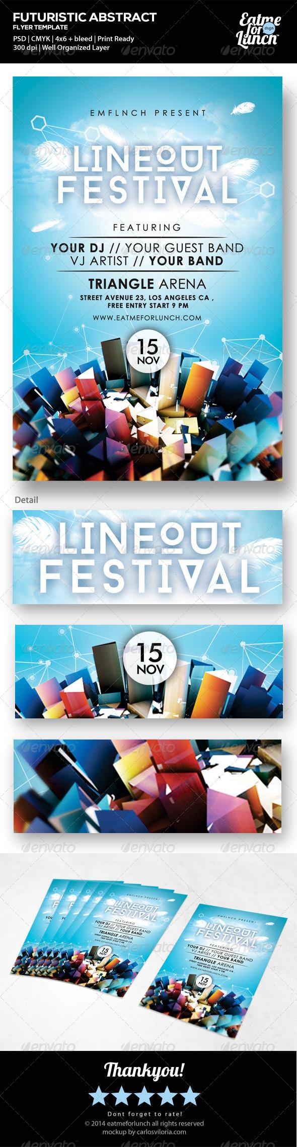 GraphicRiver Futuristic Abstract Music Festival Flyer Templates 7252451