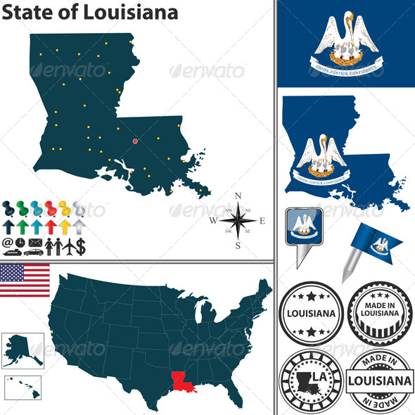 GraphicRiver Map of state Louisiana USA 7254377