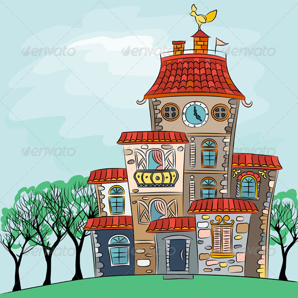 GraphicRiver Vector Fairytale Multicolored House 7254814