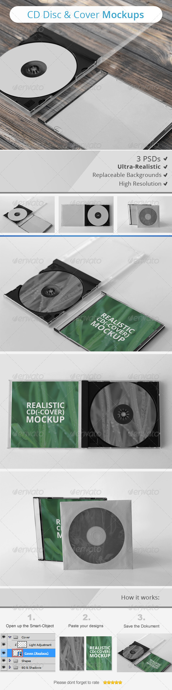 GraphicRiver CD Disc & Cover Mockups 7255730
