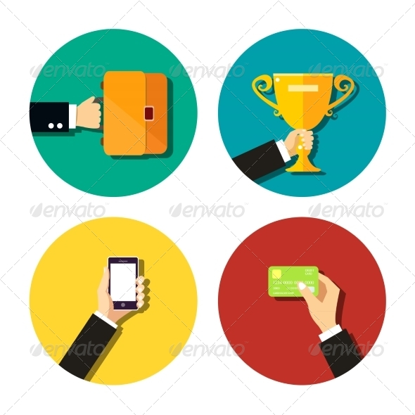 GraphicRiver Business Hands Flat Icons Set 7256045