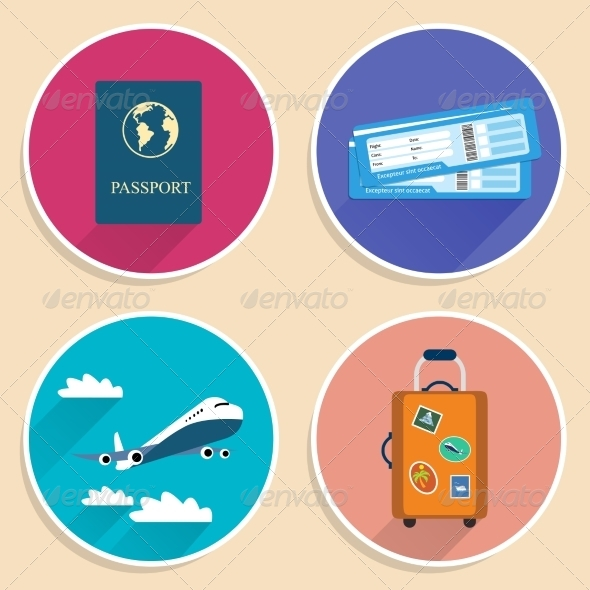 GraphicRiver Vacation Travel Voyage Icons Set 7256206