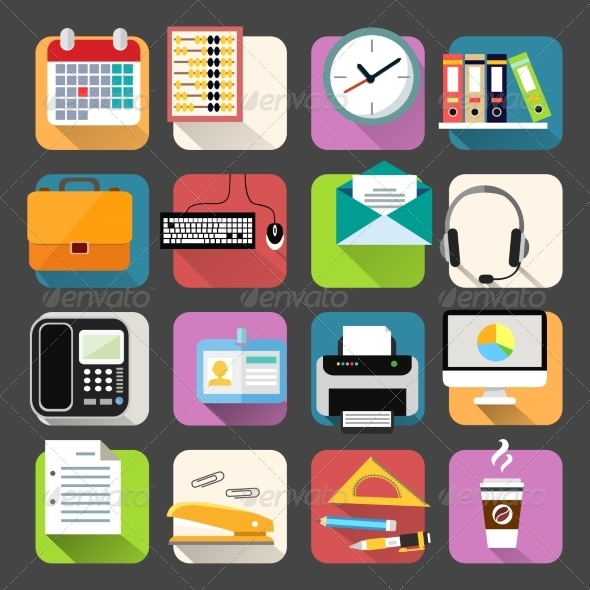 GraphicRiver Business Flat Icons Set 7256218