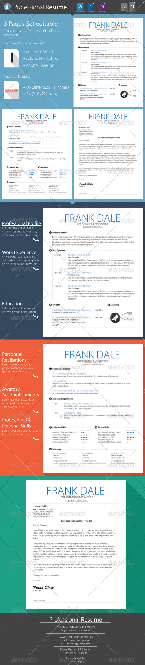 GraphicRiver Resume Clean CV 3-Page kit 7179414