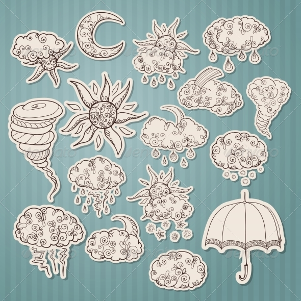 GraphicRiver Doodle Weather Forecast Stickers 7256347