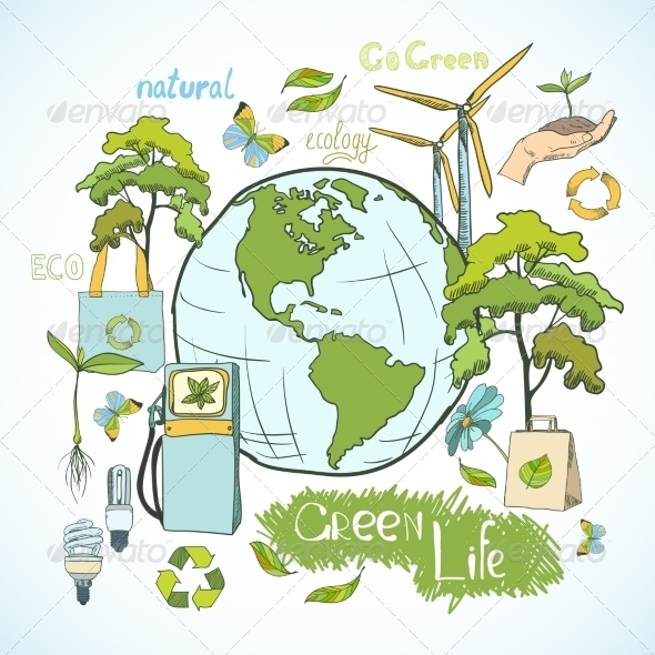 GraphicRiver Doodles Ecology and Environment Concept 7256352