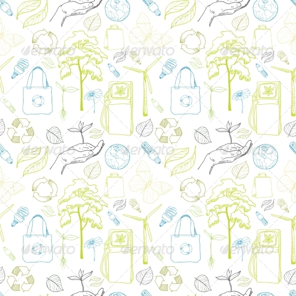 GraphicRiver Seamless Ecology and Environment Pattern 7256355