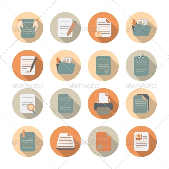 GraphicRiver Documents Files and Folders Icons Set 7256370