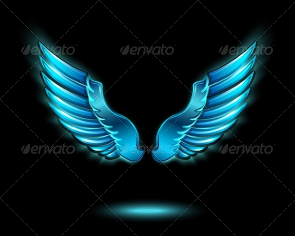 GraphicRiver Blue Glowing Angel Wings 7256379