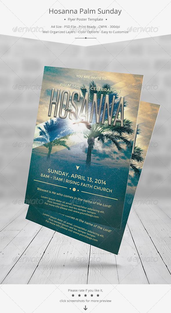 GraphicRiver Hosanna Palm Sunday Flyer Poster Template 7257273
