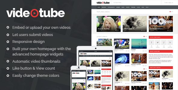 ThemeForest VideoTube A Responsive Video WordPress Theme 7214445