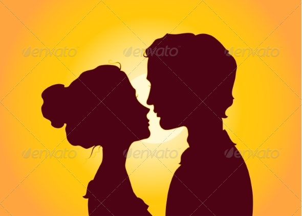 GraphicRiver Sunset Silhouettes of Kissing Couple 7258702