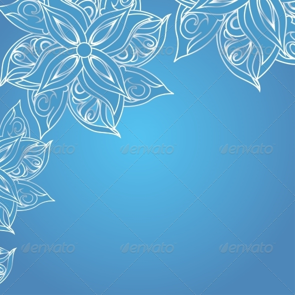 GraphicRiver Blue Background with Floral Ornament 7258896