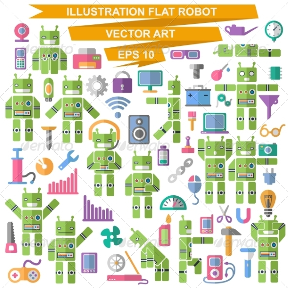 GraphicRiver Flat Robot 7260460