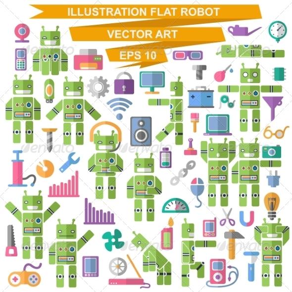 GraphicRiver Flat Robot 7260460