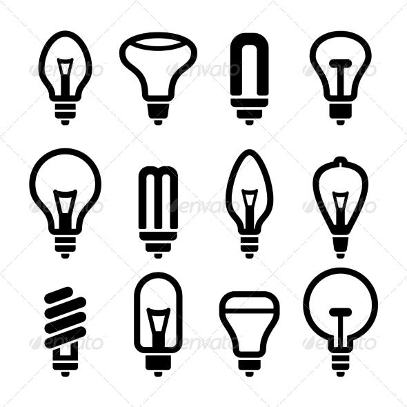 GraphicRiver Light Bulbs Bulb Icon Set 2 Vector 7260678