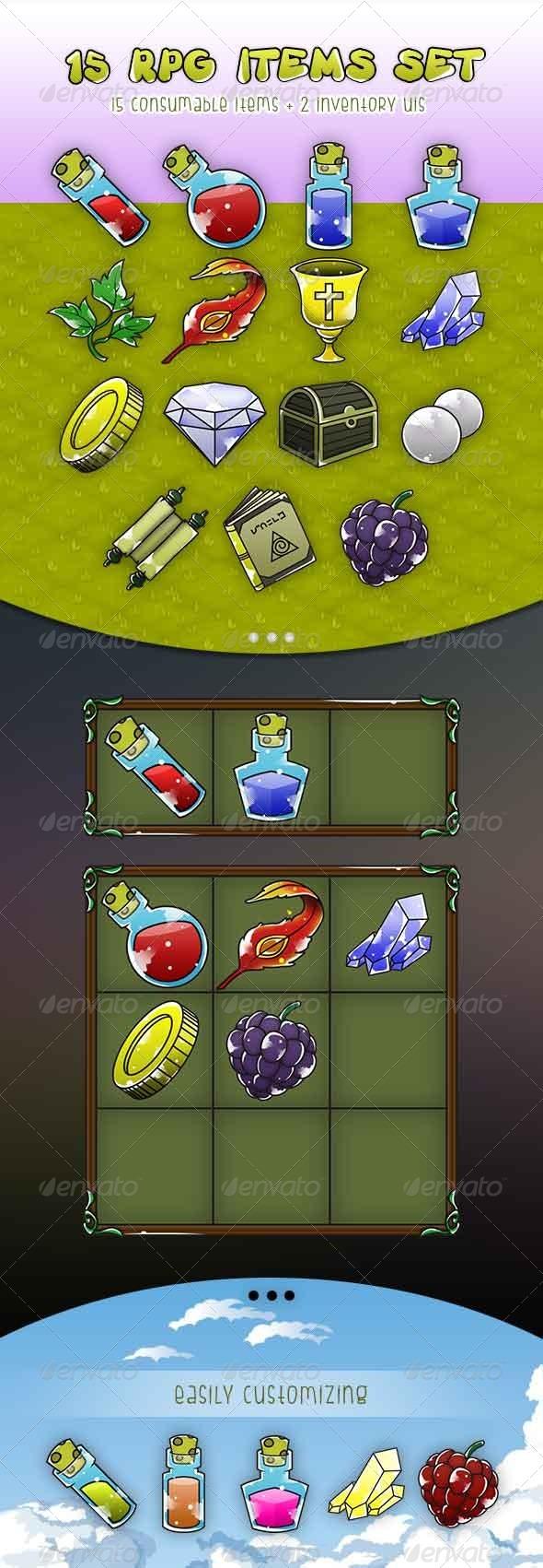 GraphicRiver RPG Items Set & Game UI Consumable Item Set 7260975