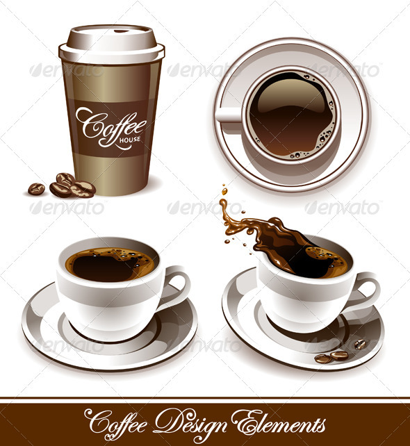Graphic River Vector set of coffee cups Vectors -  Objects  Food 758286
