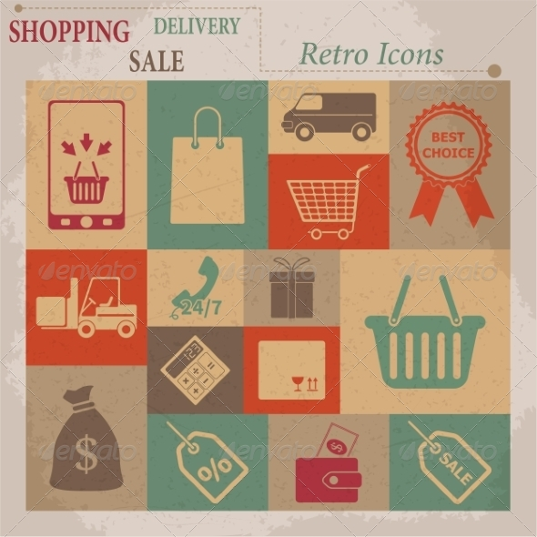 GraphicRiver Shopping Flat Retro Icons 7261355