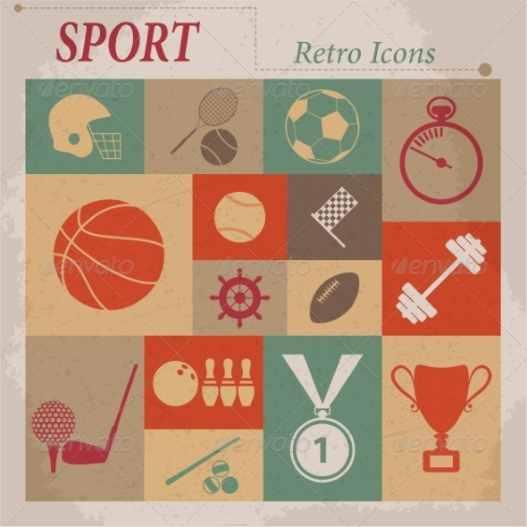GraphicRiver Sport Flat Retro Icons 7261363