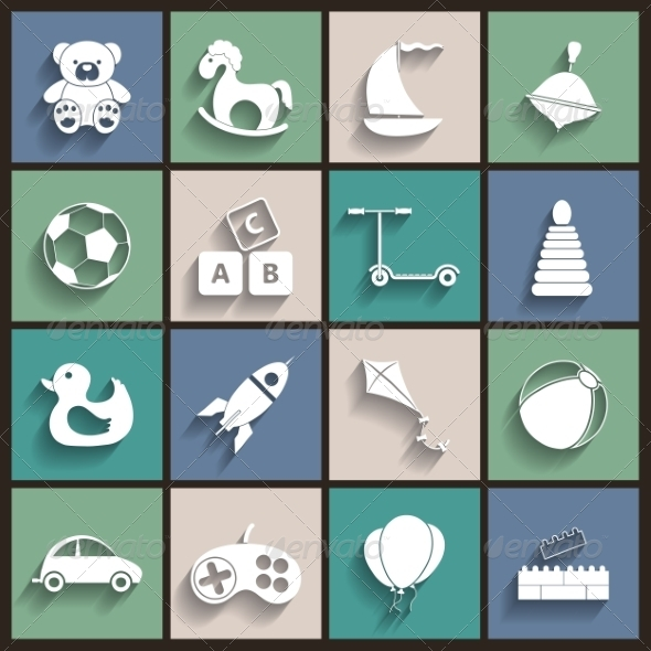 GraphicRiver Toys Flat Retro Icons 7261370
