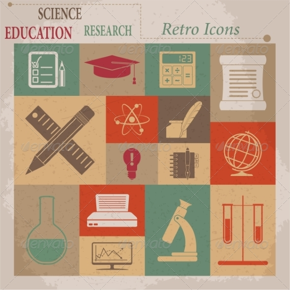GraphicRiver School and Education Vector Flat Retro Icons 7261403