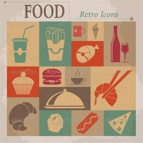 GraphicRiver Food Flat Vector Retro Icons 7261405