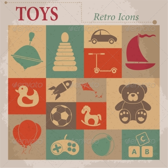 GraphicRiver Toys Vector Flat Icons 7261429