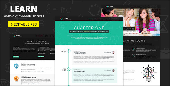 ThemeForest LEARN Course Workshop Seminar PSD template 7261486