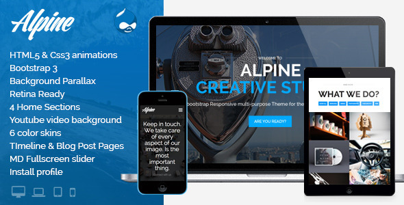 ThemeForest Alpine Responsive One Page Parallax Drupal Theme 7261738