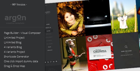 ThemeForest Argon Full Screen Portfolio & Blog WP Theme 7213046