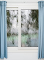 Closed window with curtains in rainy autumn weather - PhotoDune Item for Sale