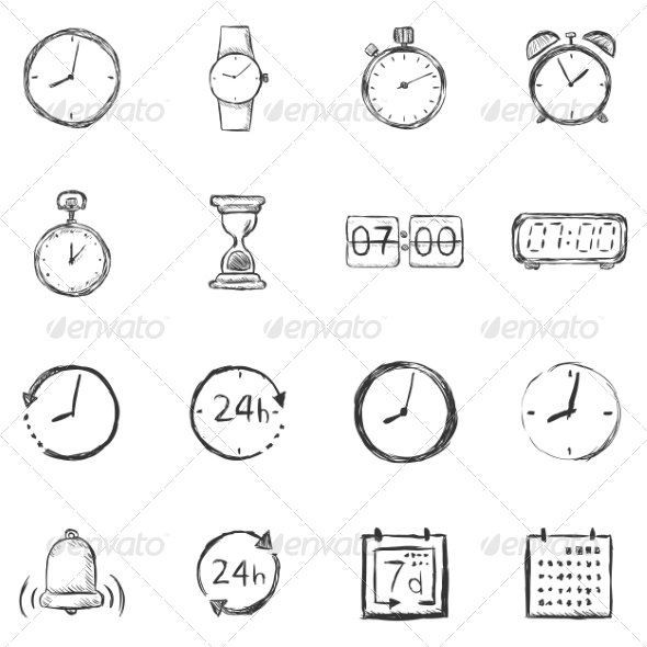 GraphicRiver Vector Set of Sketch Time Icons 7262066