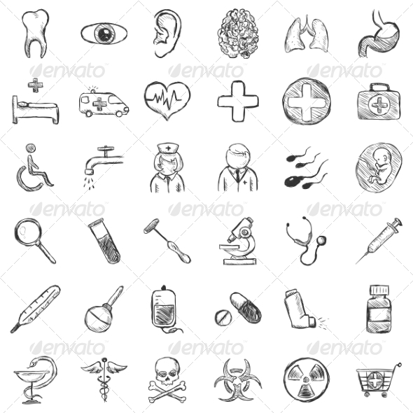GraphicRiver Vector Set of Sketch Medical Icons 7262081