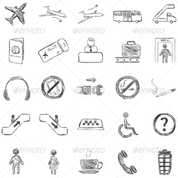 GraphicRiver Vector Set of Sketch Airport Icons 7262086