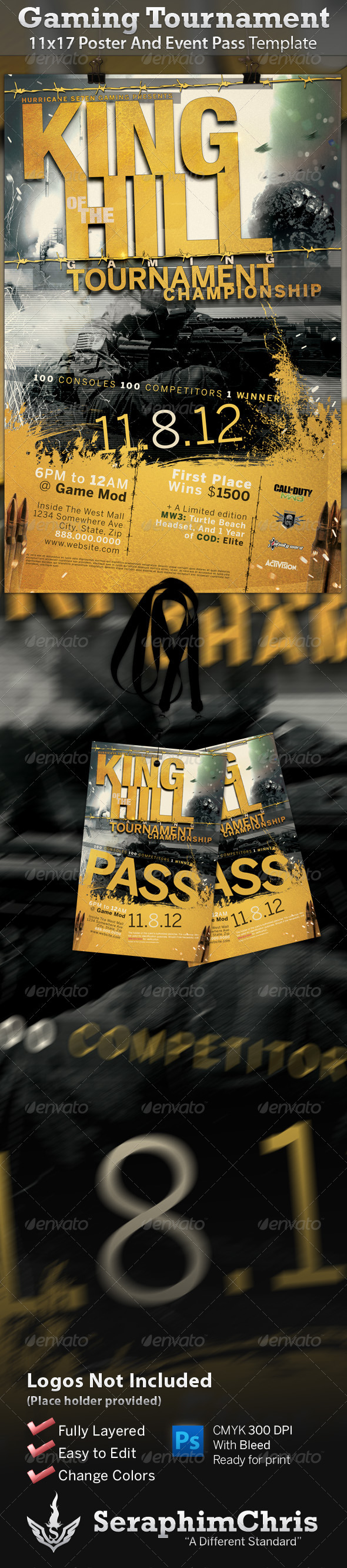 GraphicRiver King of The Hill Gaming Poster and Event Pass 758310